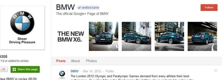 BMW Google Plus Page