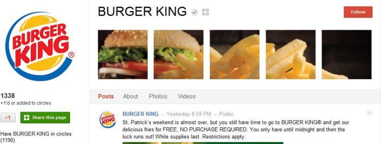 Burger King Google Plus Page