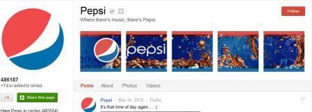 Pepsi Google Plus Page