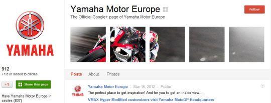 Yamaha Google Plus Page