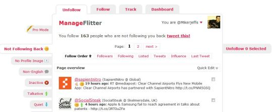 Manage Flitter Twitter Tool - Mike Jeffs Online Marketing Blog